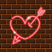 heart with arrow neon sign icon decoration