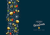 Christmas and new year gold low poly pattern card