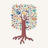 Hand drawn handprint tree for community help