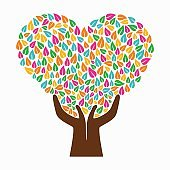 Hand tree concept illustration color heart shape