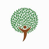 Human tree concept illustration for social help