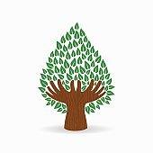 Green human hand tree concept illustration