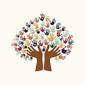 Hand print ethnic tree symbol of culture diversity