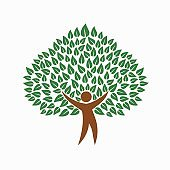 Green environment people tree concept symbol