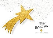 Christmas new year gold glitter star greeting card