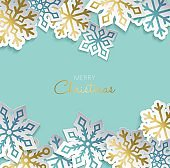 Christmas holiday gold paper cut decoration card
