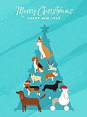 Christmas and new year pine tree dog greeting card
