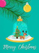 Merry Christmas snow globe reindeer greeting card