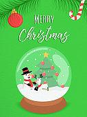 Merry Christmas snowman snow globe ornament card