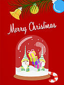 Merry Christmas fun snow globe elf greeting card