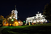 Church of Mother God and Missionary museum, Nitra, Slovakia, night scene