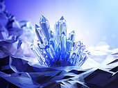 A blue crystal with a magical glow around in a mysterious cave. 3D illustration.