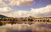 Sunset view over Bridge of Vltava in Prague