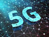 5G symbol on dark digital background. 3D illustration.