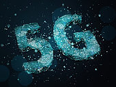 5G symbol with blue particles on dark background. 3D illustration.