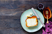 Toasts with butter and honey