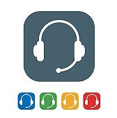 Computer headset flat Icon Isolated on White Background.vector illustration icon