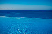 infinity pool with horizon over water