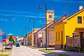 Colorful street of Koprivnica view, town in Podravina region of Croatia