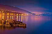 Kvarner bay evening view in Opatija, coastline of Croatia