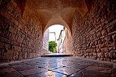 Town of Krk historic stone steet passage view, Kvarner region of Croatia