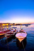 Supetar waterfront harbor evening view, Island of Brac, Dalmatia, Croatia
