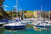 Adriatic town of Opatija turquoise harbor and waterfront view, Kvarner bay, Croatia