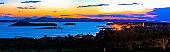 Pakostane and Pasman islands evening view, archipelago of Dalmatia, Croatia
