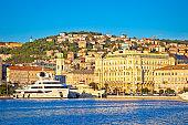 City of Rijeka waterfront boats and architecture view, Kvarner bay, Croatia