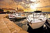 Town of Krk golden morning view, Kvarner bay archipelago of Croatia