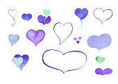 Watercolor heart clipart. Blue and purple watercolour heart isolated on white.