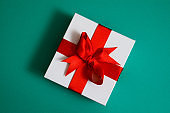 Gift box with green background