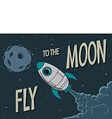 Vintage poster.Rocket fly to the moon