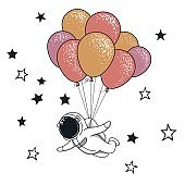 Funny spaceman fly with many balloons