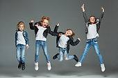 Young girl jumping at studio