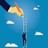 Business leadership concept. Businessman Lead to Climb High Ladder