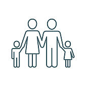 Family: mother, father and children, vector icon