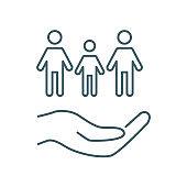 Family care, insurance vector icon