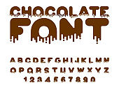 Chocolate font. sweetness alphabet. Liquid lettering. Sweet viscous ABC sign