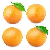 Grapefruit set isolated on white background