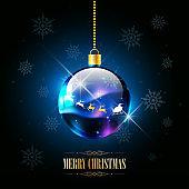 Merry Christmas with Santa Claus sleigh reindeer in Christmas ball, vector illustration
