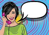 Pop art cartoon woman hold hand retro phone talk