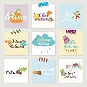 Set of autumn cards