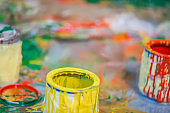 Messy time with paint cans