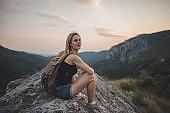 Alone on mountain