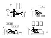 Stick figure resting at home position set. Sitting, lying, watching tv, sleeping, drinking icon relaxing posture on sofa and armchair. Furniture pictogram