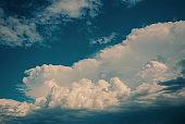 Beautiful white cumulus clouds