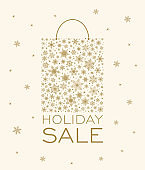Christmas Holiday Winter New Year Sale background - snowflake shopping bag