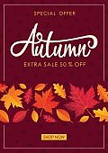 Autumn Sale Vertical Background. Shopping offer poster. Vector illustration template