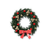 Colorful Christmas Wreath on Isolated White Background